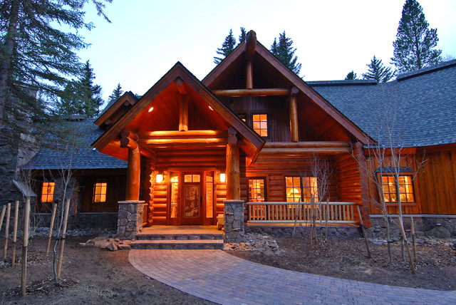 Sage Creek Canyon Hybrid Log Home Rustic Exterior