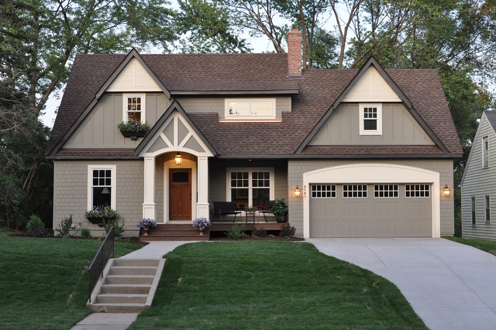 Inspiration for a timeless wood gable roof remodel in Minneapolis