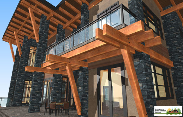 Samuelson timberframe design for Contemporary timber frame house plans