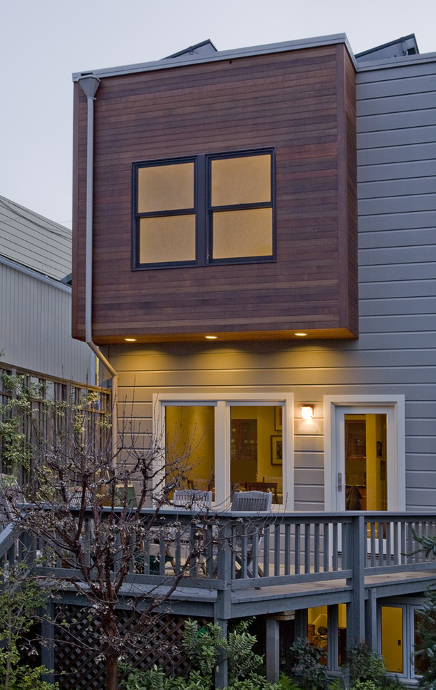 Inspiration for a contemporary wood exterior home remodel in San Francisco