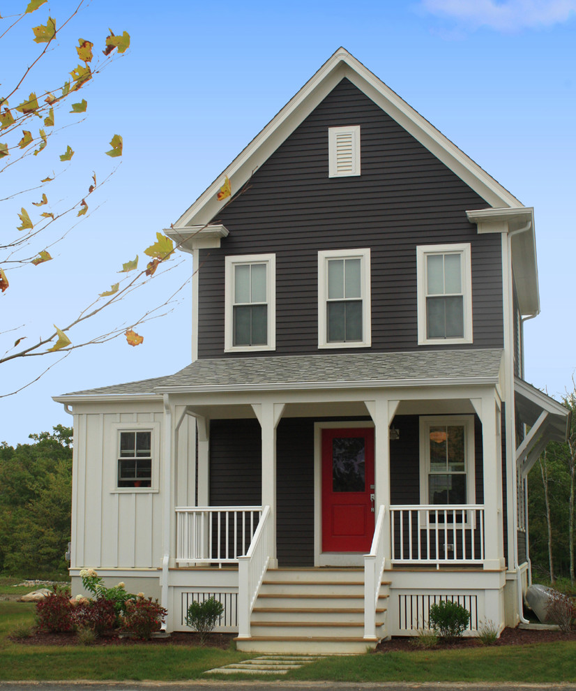 Inspiration for a cottage wood gable roof remodel in Providence