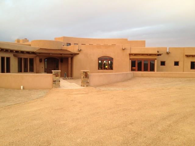 Santa fe modern adobe southwestern exterior for Modern adobe houses