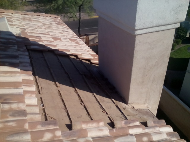 Scottsdale Tile Roof Repair With Chimney Cricket