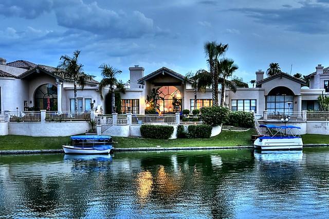 Scottsdale Waterfront Homes Mediterranean Exterior Phoenix on Decorative Wall Clocks