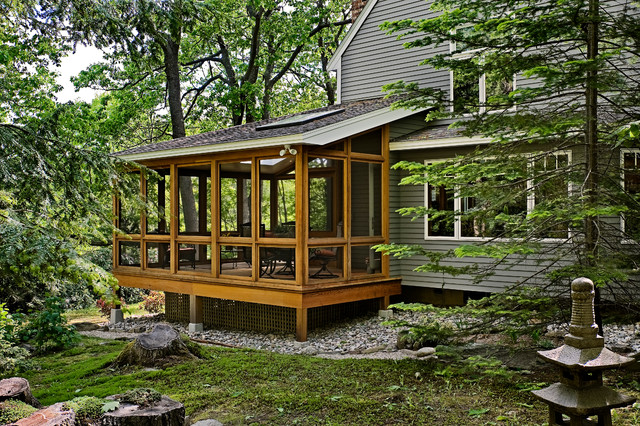 Screen Porch Addition Rustic Exterior Portland Maine