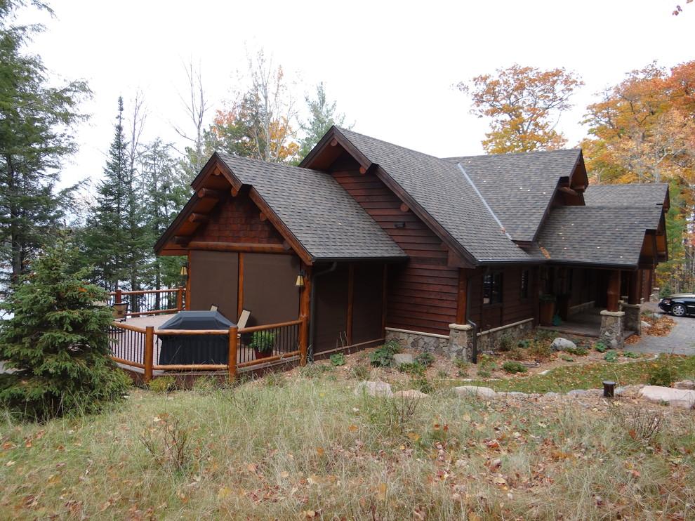 Rustic exterior home idea in Minneapolis