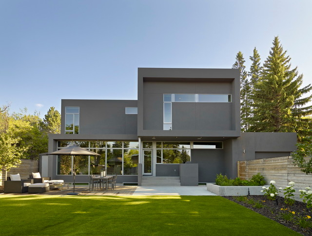 Inspiration for a mid-sized modern gray two-story exterior home remodel in  Edmonton