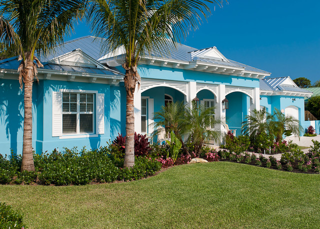this is an example of a tropical blue one story exterior