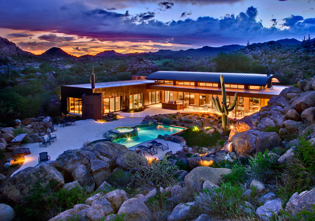 Secluded Canyon Home contemporary-exterior
