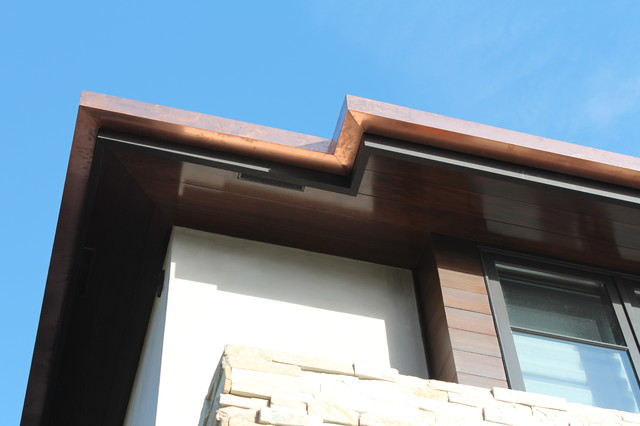 Sectional 4x5 box gutters 16 ounce copper modern home in for Living room 4x5
