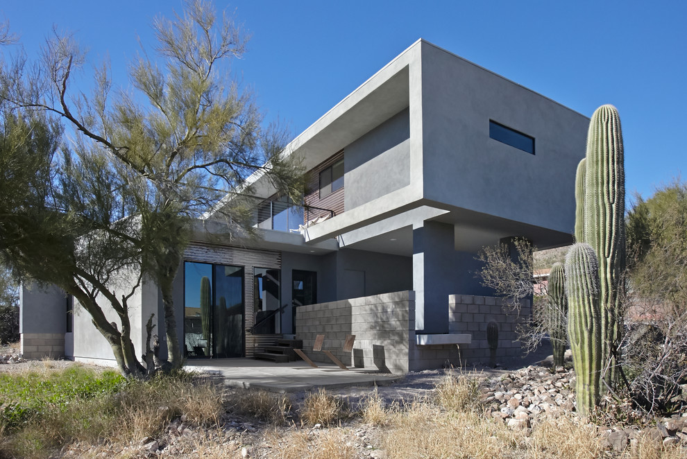 Small modern gray two-story metal exterior home idea in Phoenix