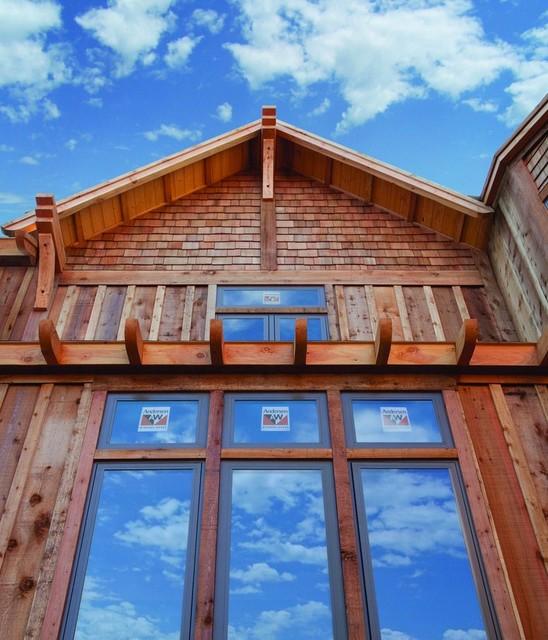 Series 100 casement windows rustic exterior for Anderson vinyl windows