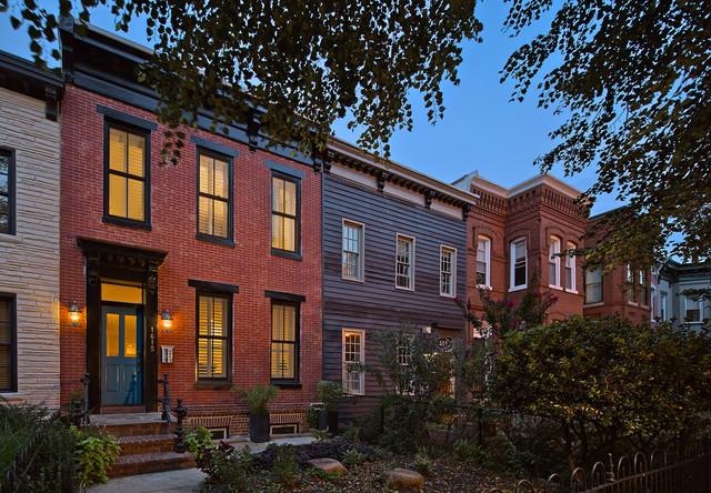 Shaw row house remodel traditional exterior dc metro for Row house exterior design ideas