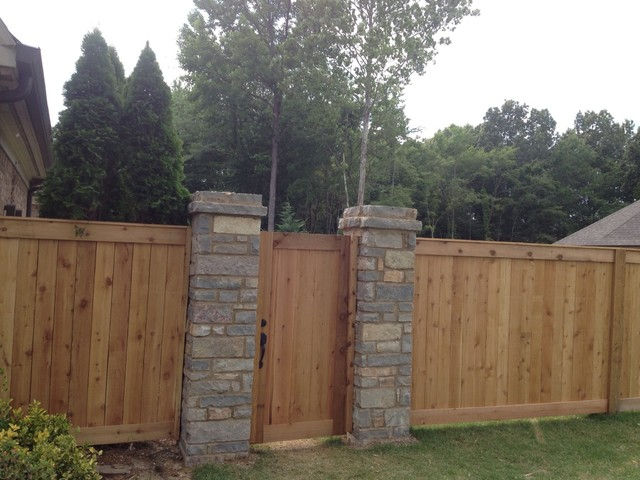 Shea Rd Cedar Fence With Stone Pillars Traditional