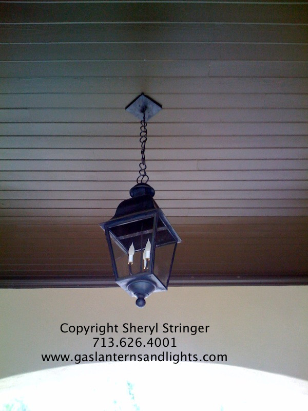 Sheryl's Electric Tuscan Lantern Hanging by Copper Chain