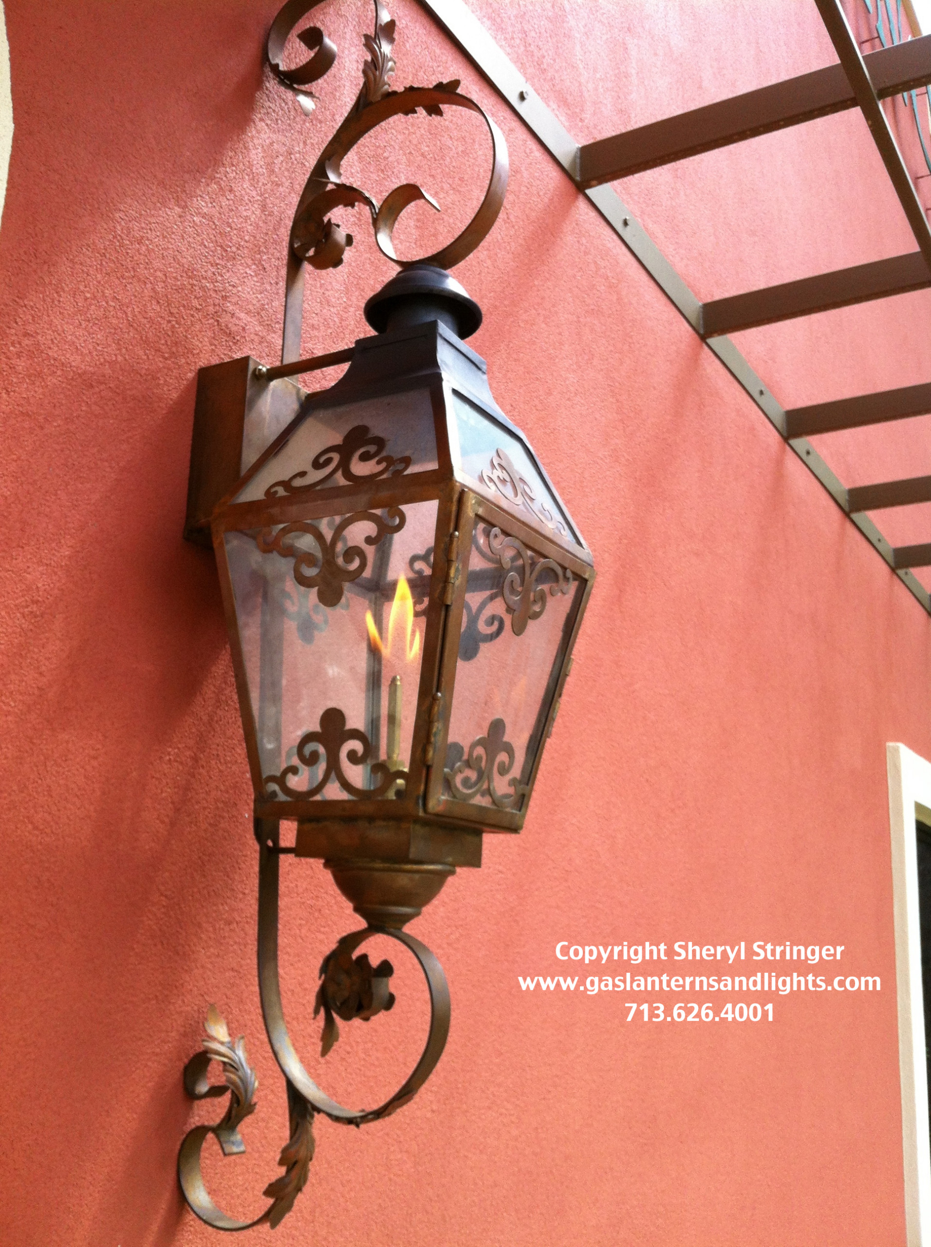Sheryl's French Chateau Natural Gas Lantern with Glass Top and Natural Copper Fi