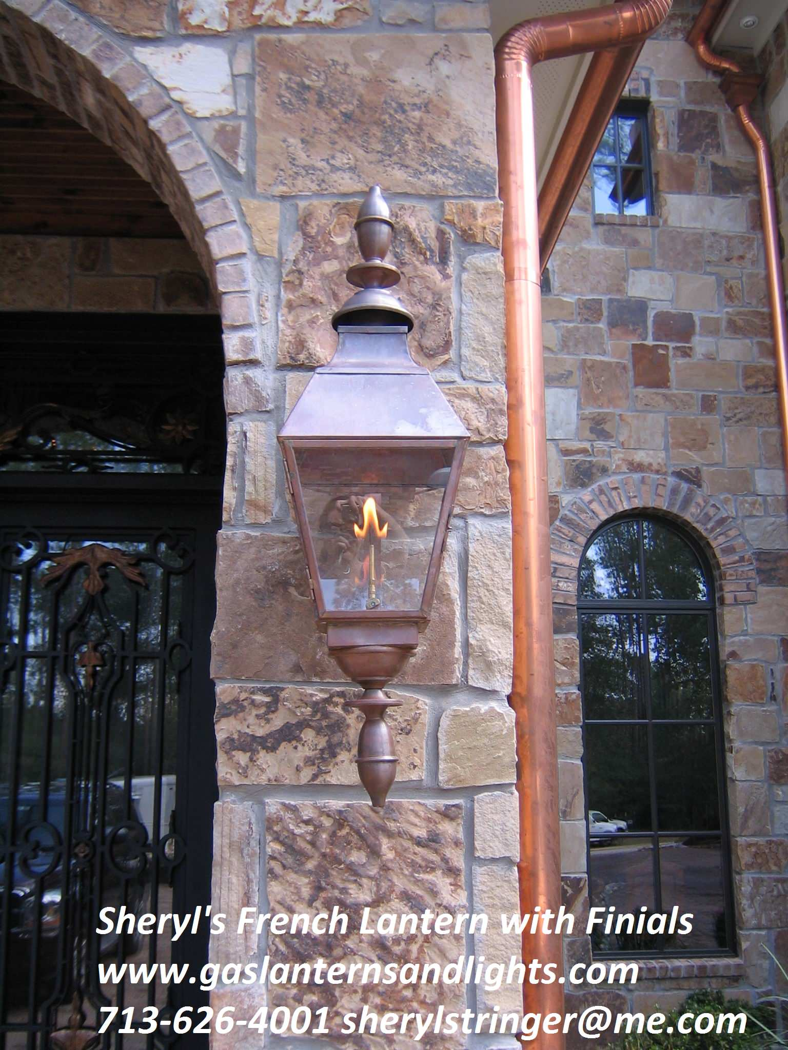 Sheryl's French Gas Lantern with Fnials