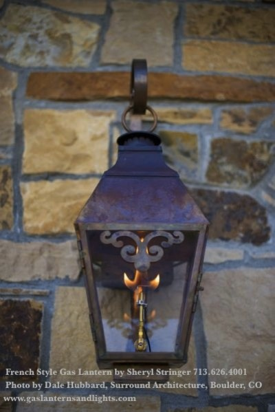 Sheryl's French Style Gas Lantern with Solid Top and Window Scroll