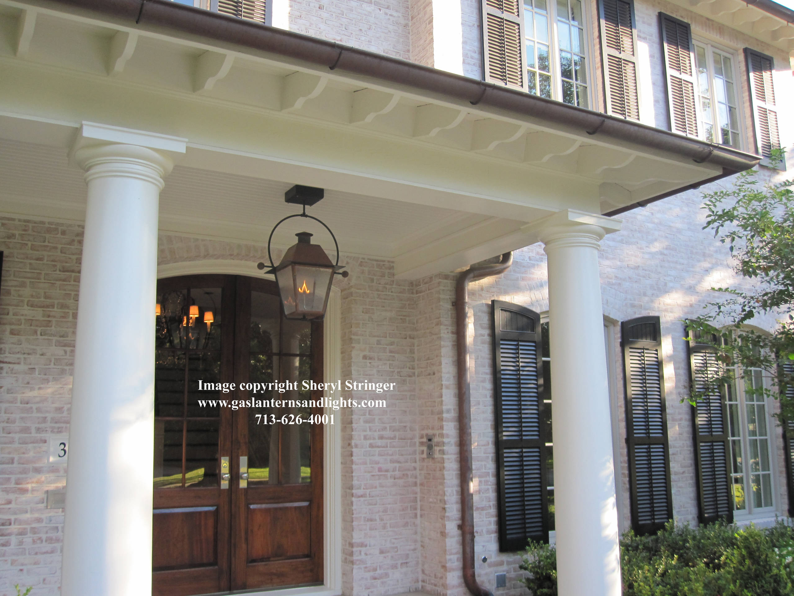 Sheryl's New Orleans Style Gas Lantern with Solid Top Hanging From Steel Yoke
