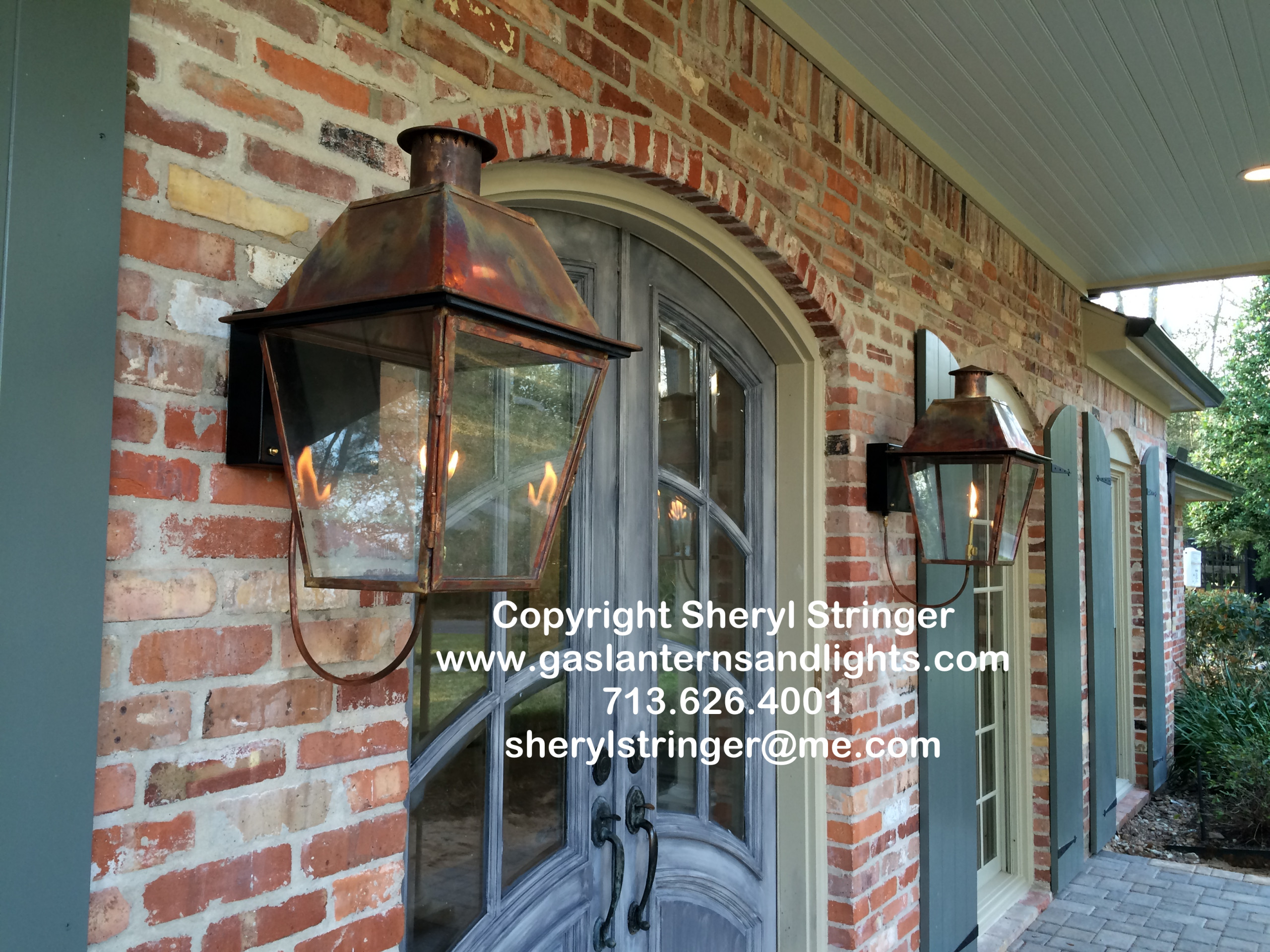 Sheryl's New Orleans Style Gas Lanterns with Solid Tops and Steel Brackets