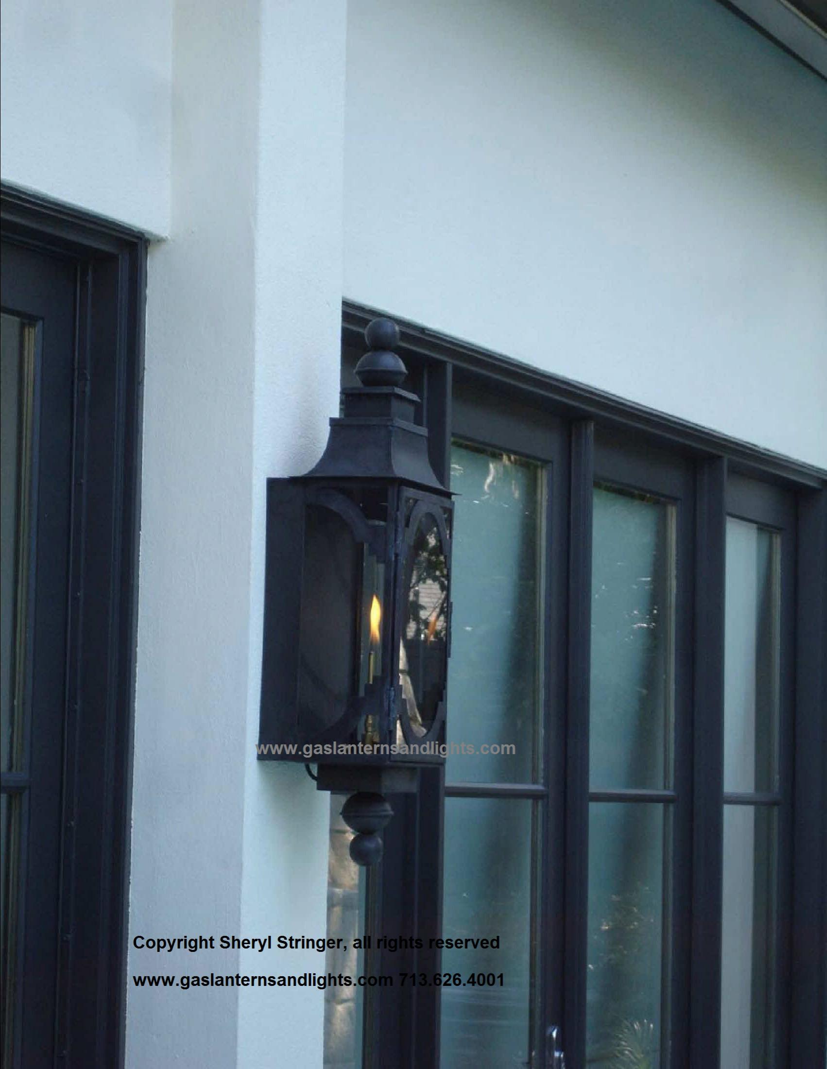 Sheryl's Santa Barbara Gas Lantern with Dark Patina Finish