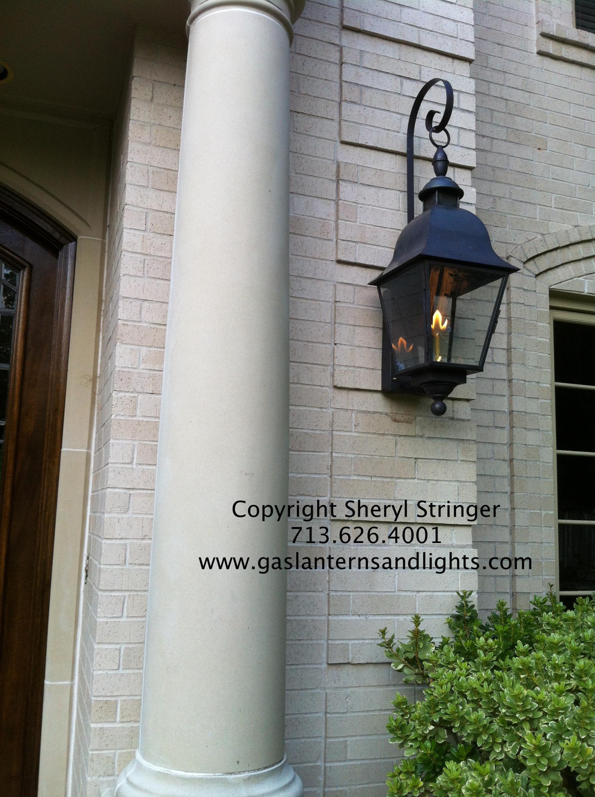 Sheryl's Tuscan Gas Lantern with Top Curl