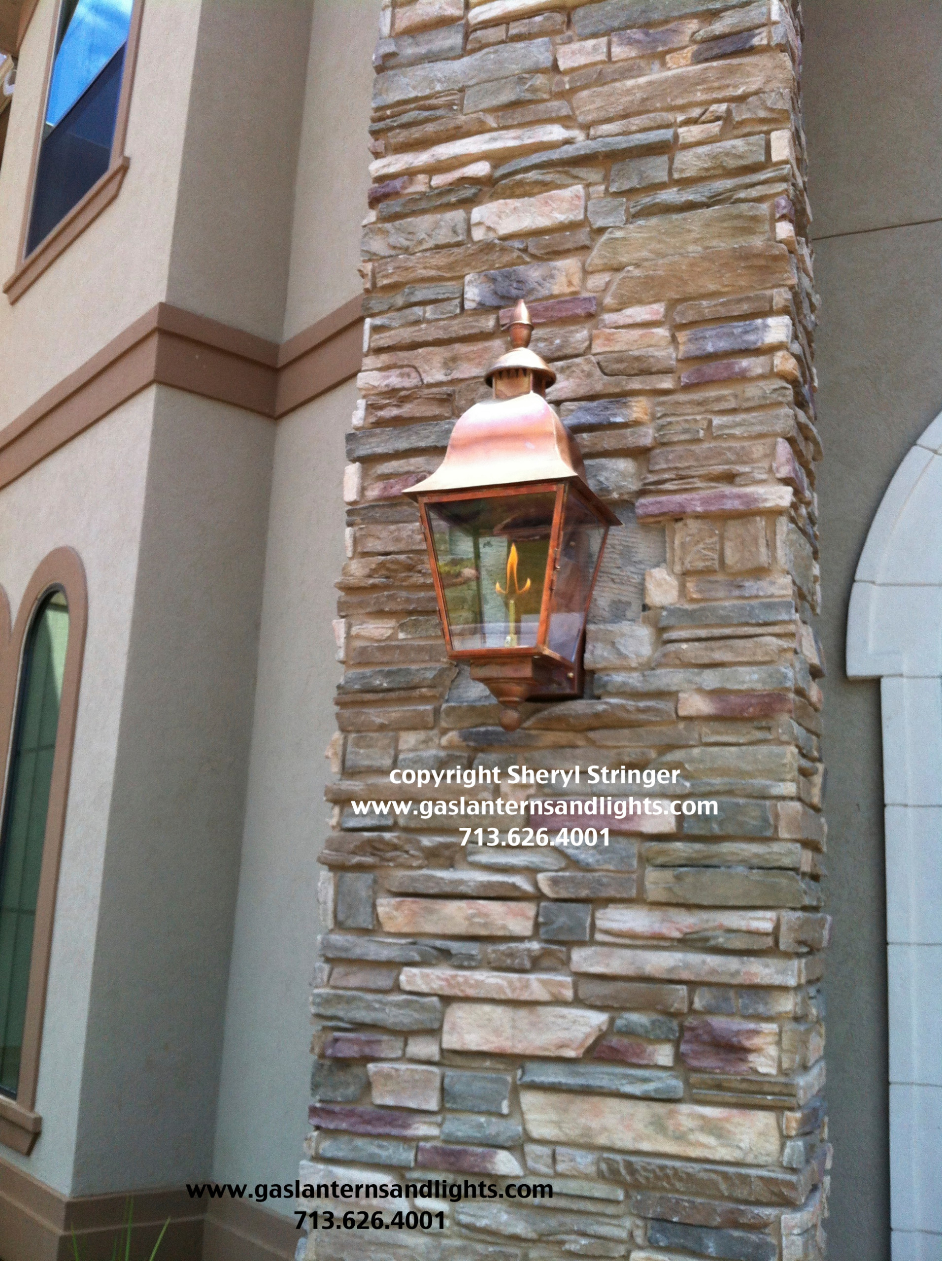 Sheryl's Tuscan Gas Lanterns with Natural Copper Finish