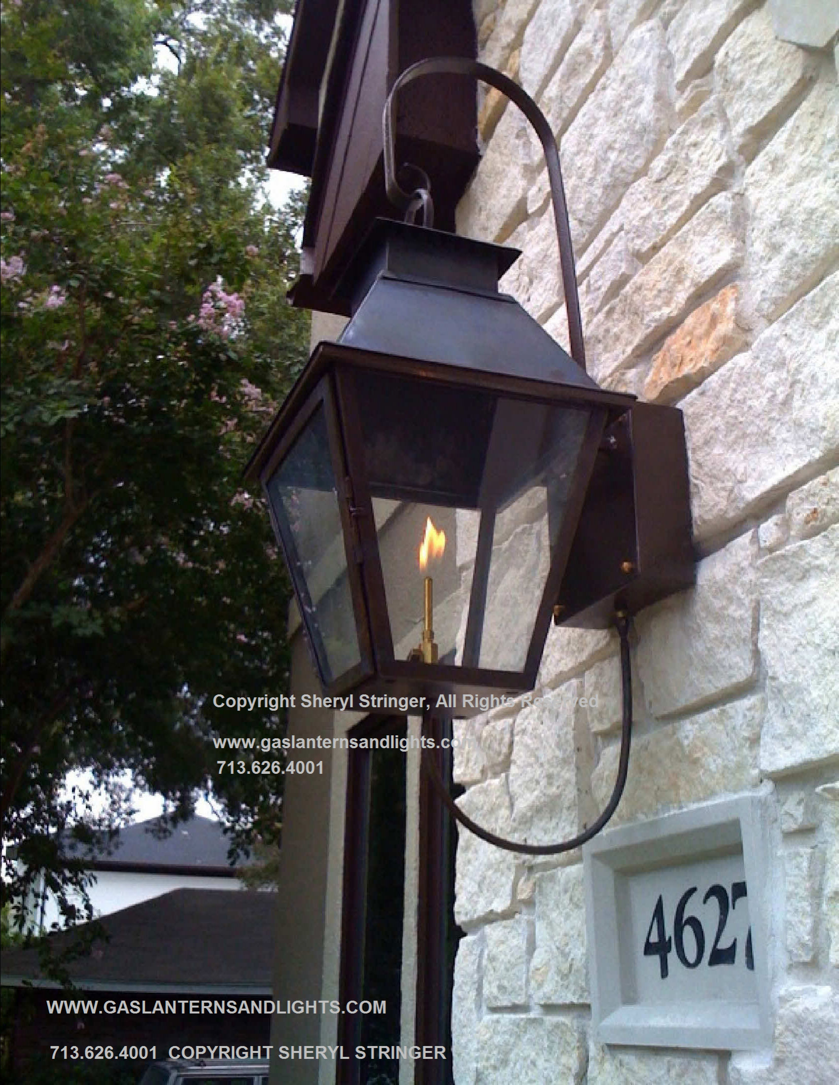 Sheryl's V Style Gas Lantern on Steel Bracket with Curl