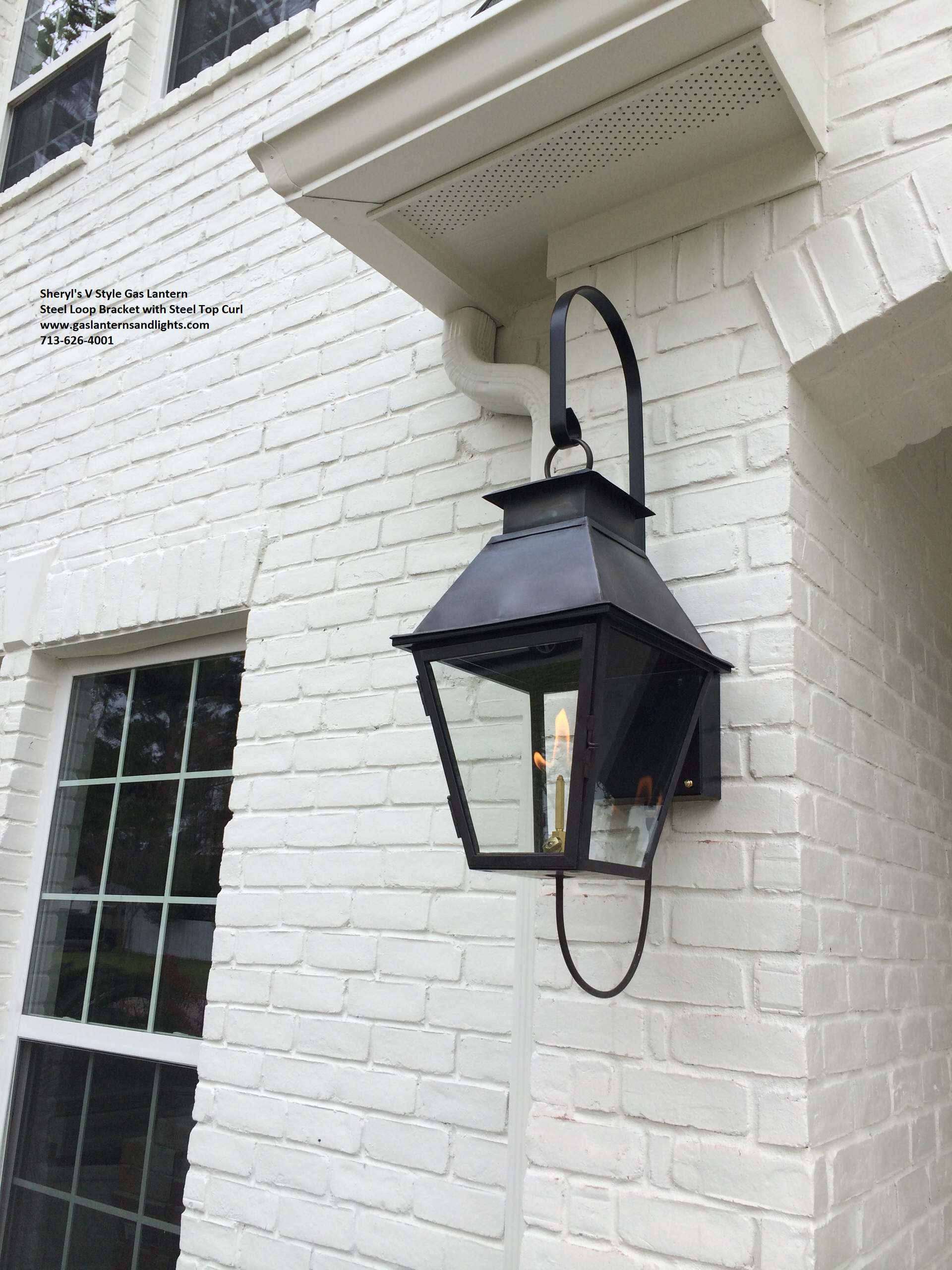 Sheryl's V Style Gas Lantern on Steel Loop Bracket