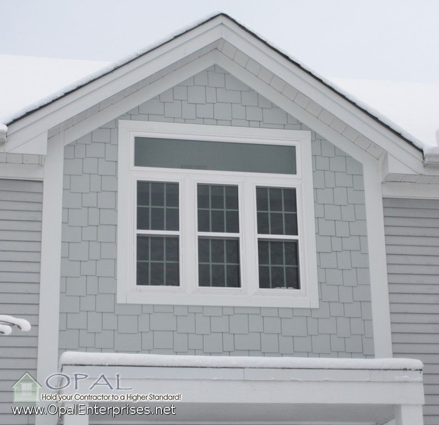 Shingle Siding In Light Mist By James Hardie And White
