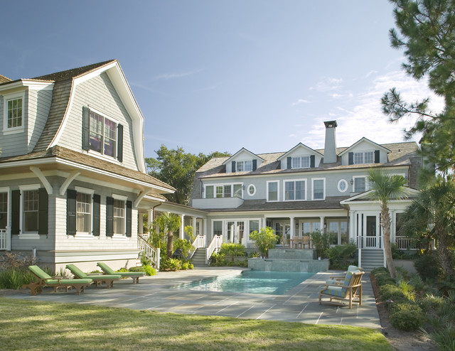 Shingle style beach home with guest house victorian for Victorian beach house plans