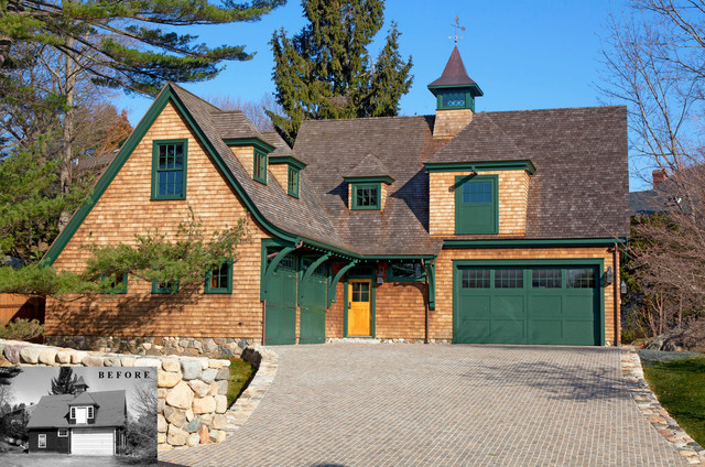Shingle style carriage house front elevation victorian for How much does it cost to build a carriage house