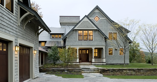 Shingle style home drive court to entry elevation traditional-exterior