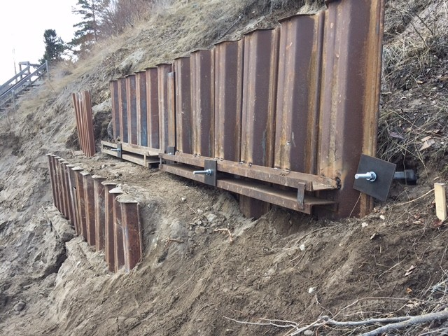 Shoring Posts For Concrete Walls : Shoring retaining wall helical screw piles exterior