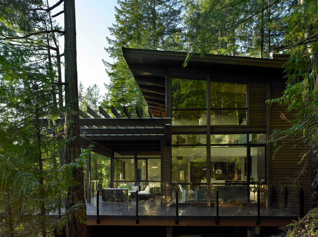 Side view of gambier island custom home modern for Modern home design vancouver bc