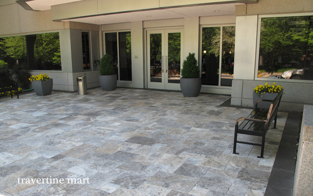 Captivating Silver Travertine Pavers   Pool And Patio Natural Stone Pavers  Traditional Exterior