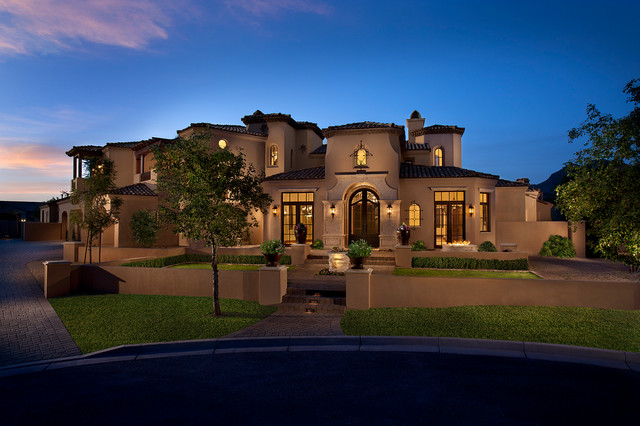 Mediterranean Front Elevation : Houzz exterior home design tuscan front elevation joy