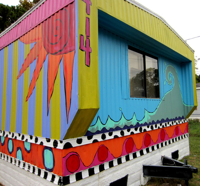 Single wide trailer into beach vacation rental eclectic Single wide mobile home exterior remodel