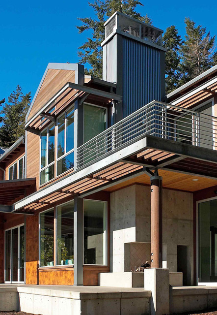 Exterior Detail Of Sun Screeningsecond Floor Deck And