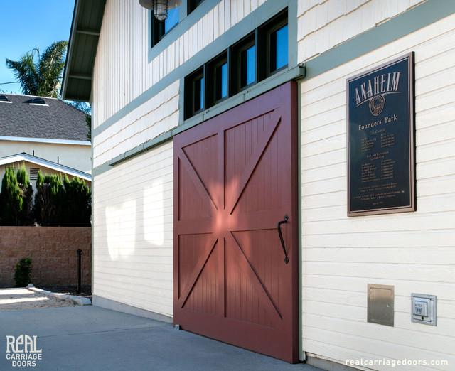 Sliding Red Barn Door Traditional