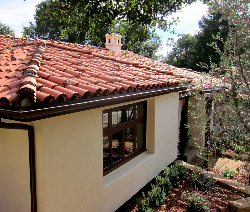 Small Spanish Cottage Red Tile Roofing In Montecito Ca Mediterranean Exterior Santa Barbara By Santa Barbara Home Design