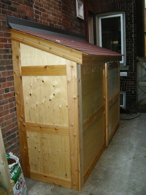 Small storage shed with sliding door contemporary for Small exterior doors