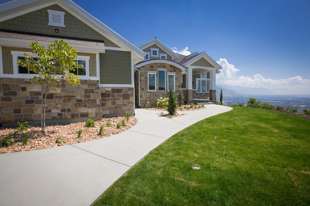 Green two-story mixed siding exterior home photo in Salt Lake City