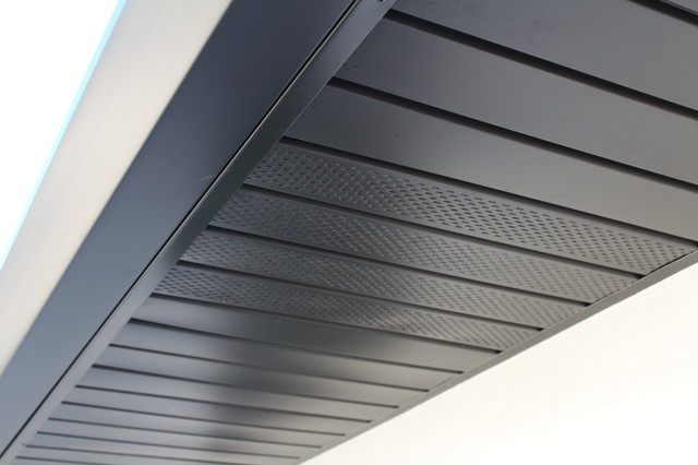 Soffits Fascia And Angle Face Gutters In Dark Bronze Aluminum Long Beach Contemporary