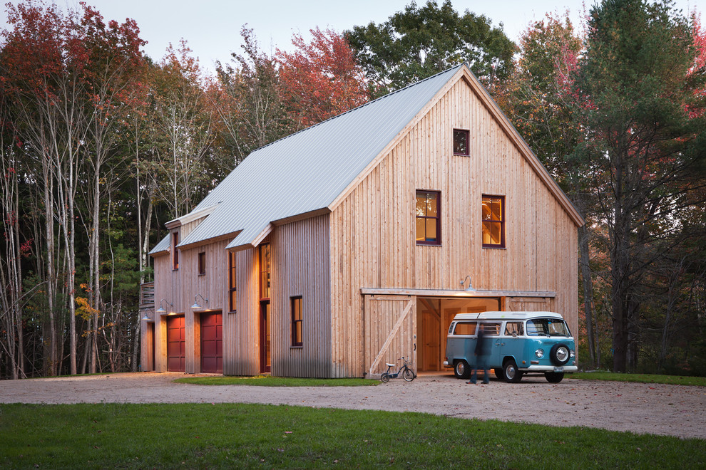 Farmhouse wood gable roof idea in Portland Maine with a metal roof