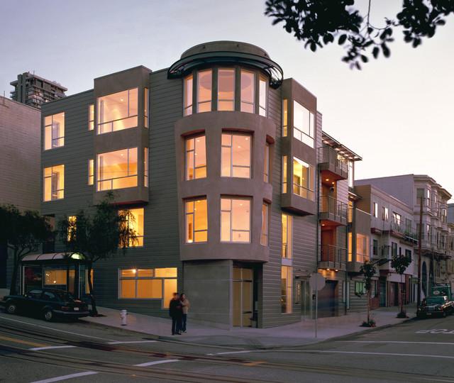 Sophisticated Corner Condos modern-exterior
