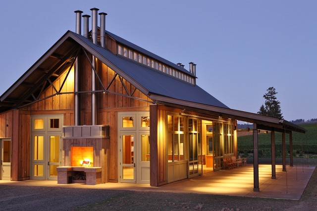 Soter vineyard tasting room farmhouse exterior for Modern pole builders