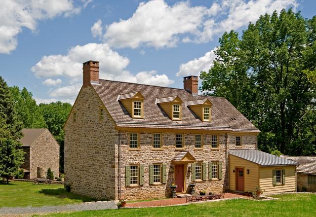 Stone Oak Elevation : South elevation farmhouse exterior philadelphia by