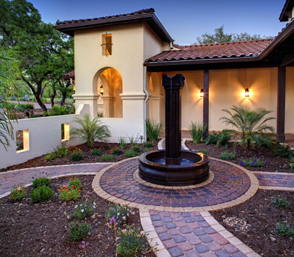 Spanish hacienda mediterranean exterior austin by for Spanish style fountains for sale