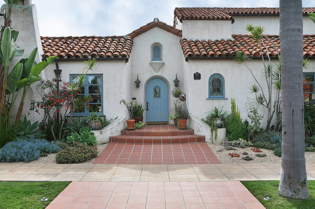 Spanish revival master bath mediterranean exterior for Spanish style exterior